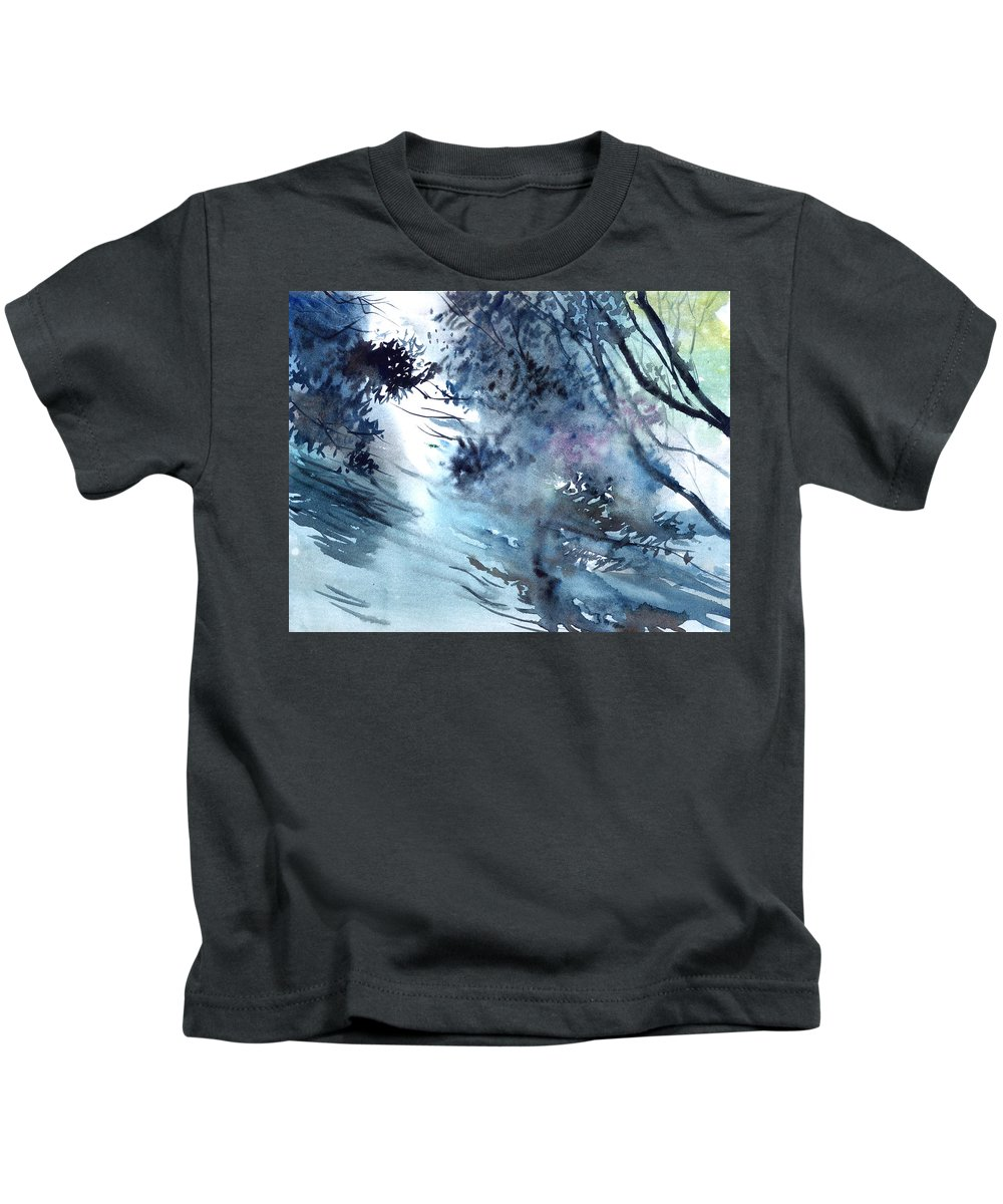 Floods Kids T-Shirt featuring the painting Flooding by Anil Nene