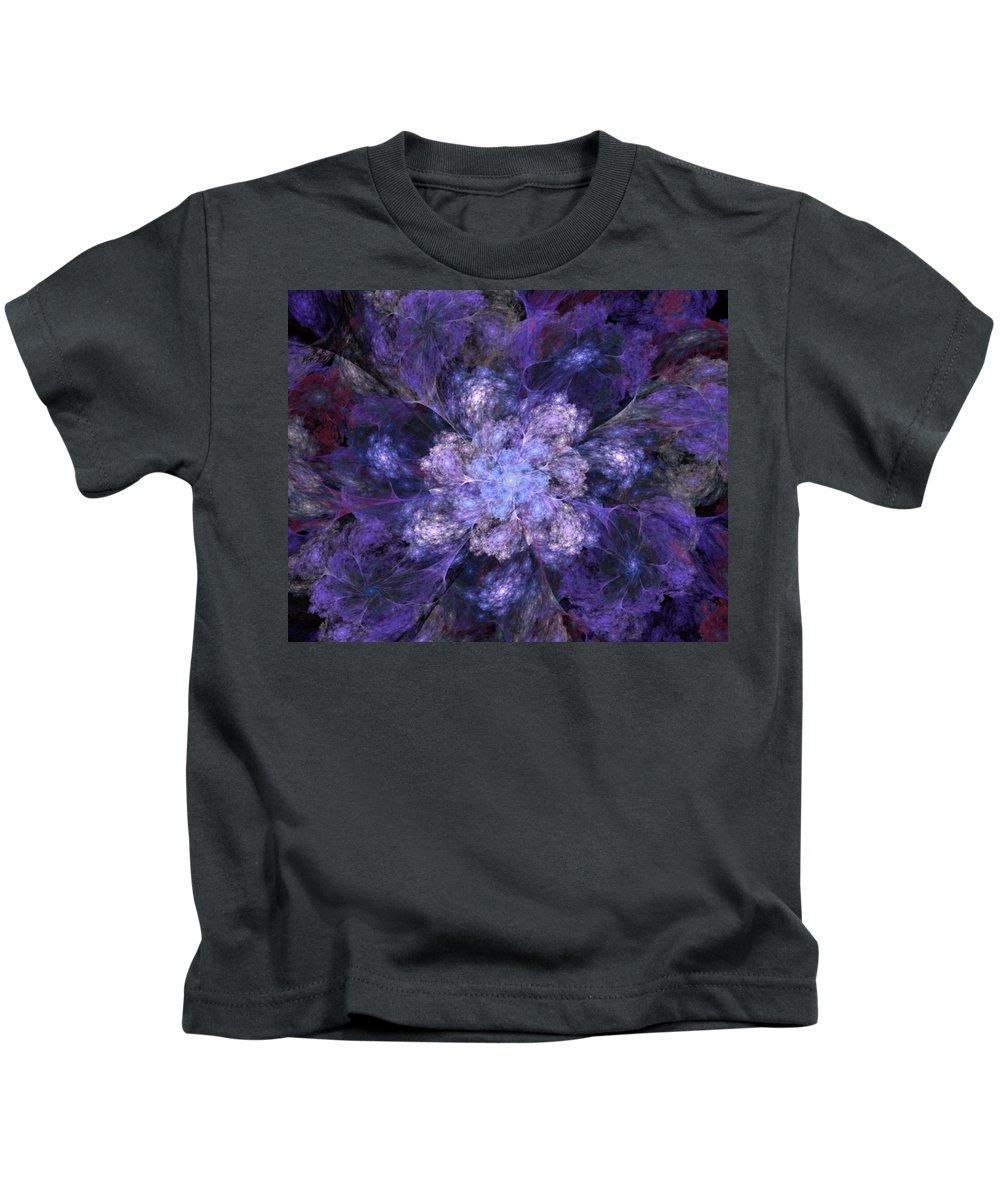 Digital Painting Kids T-Shirt featuring the digital art Floral Fantasy 1 by David Lane