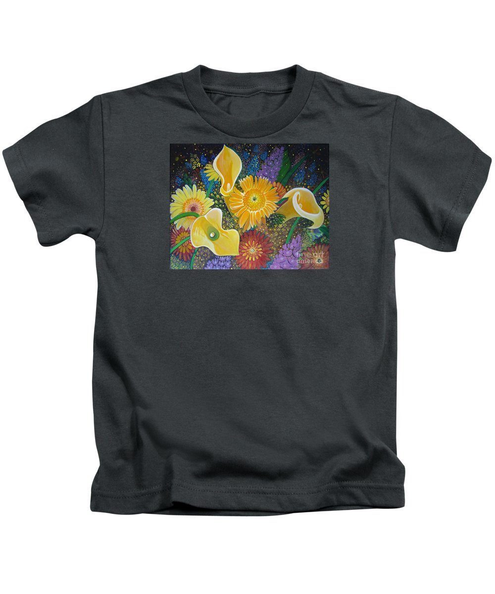 Flowers Kids T-Shirt featuring the painting Floral Fireworks by Helena Tiainen