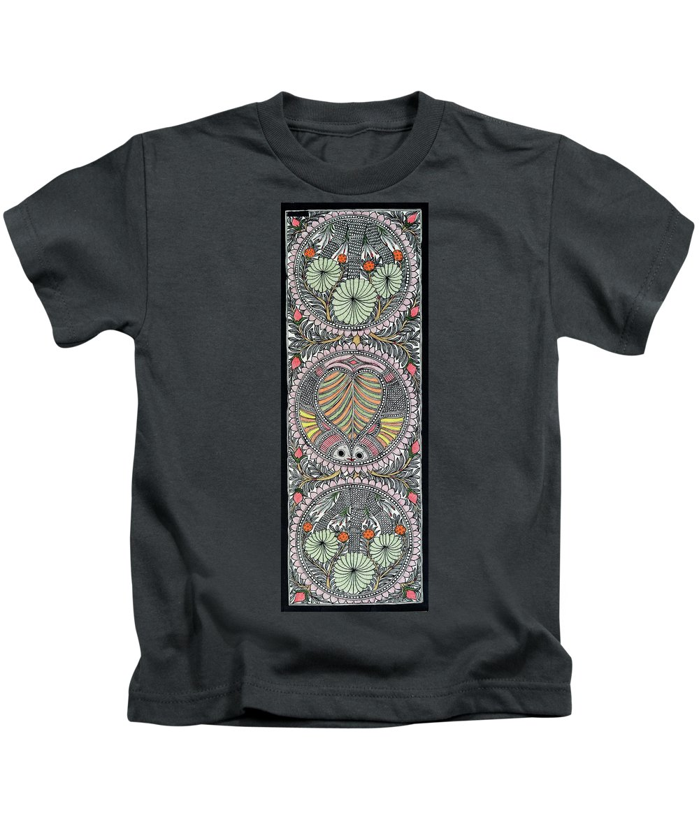 Kids T-Shirt featuring the painting Flower Fish by Prerna