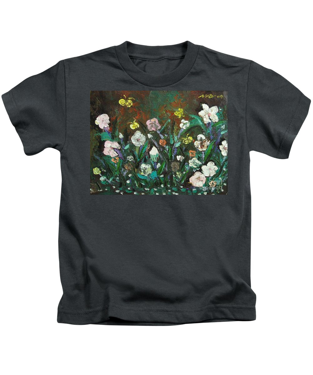 Abstract Paintings Kids T-Shirt featuring the painting Flower Garden by Seon-Jeong Kim