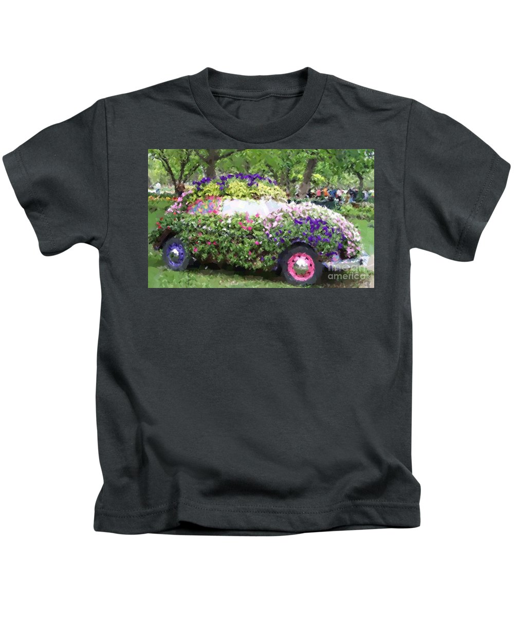 Cars Kids T-Shirt featuring the photograph Flower Power by Debbi Granruth