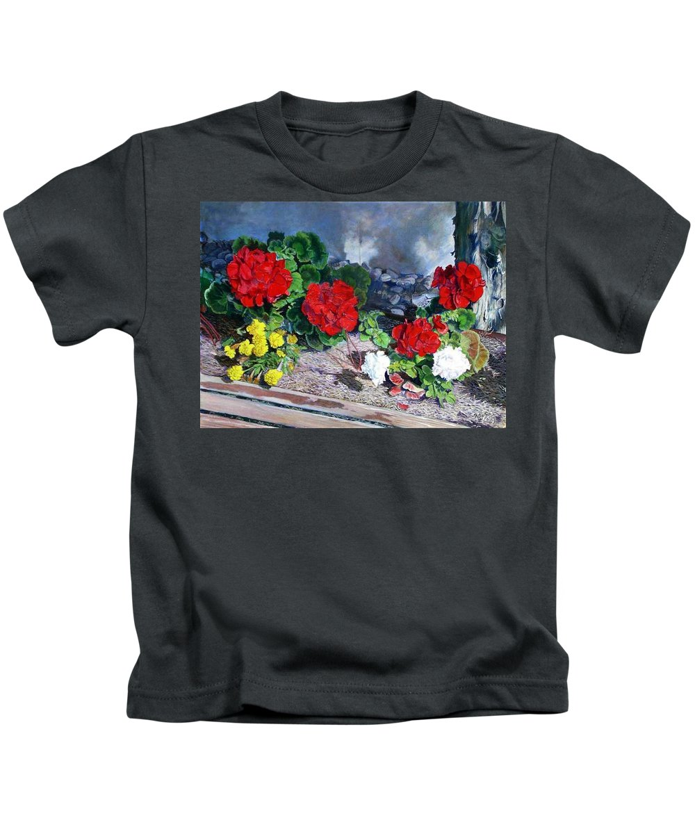 Colorful Flowers Outside Of The Church Kids T-Shirt featuring the painting Flowers At Church by Scott Robertson