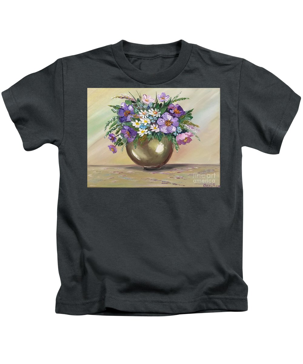 Flowers Kids T-Shirt featuring the painting Flowers,still Life by Aysel Mekhtieva