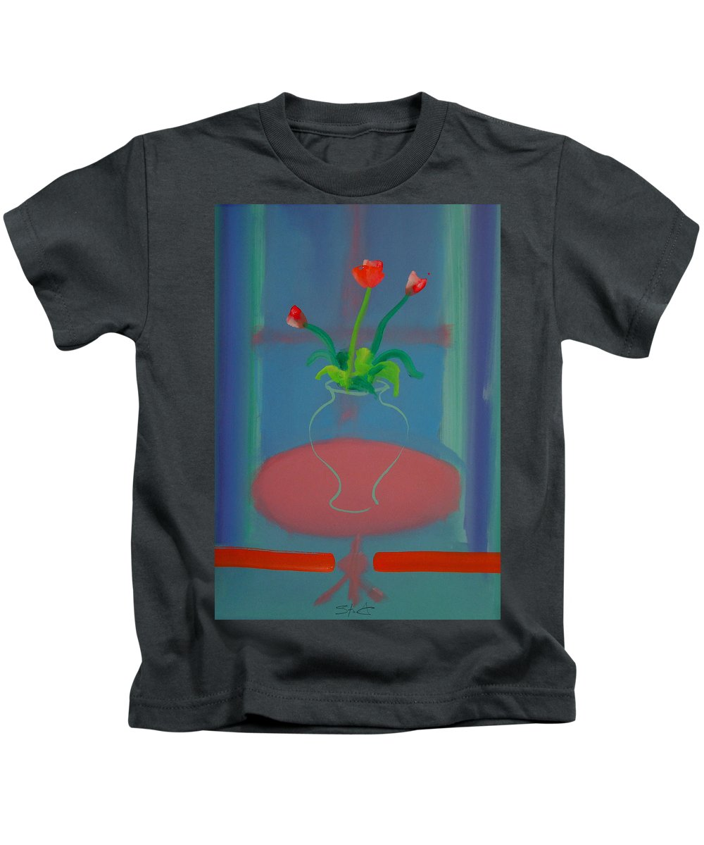 Dufy Kids T-Shirt featuring the painting Flowers In A Bay Window by Charles Stuart