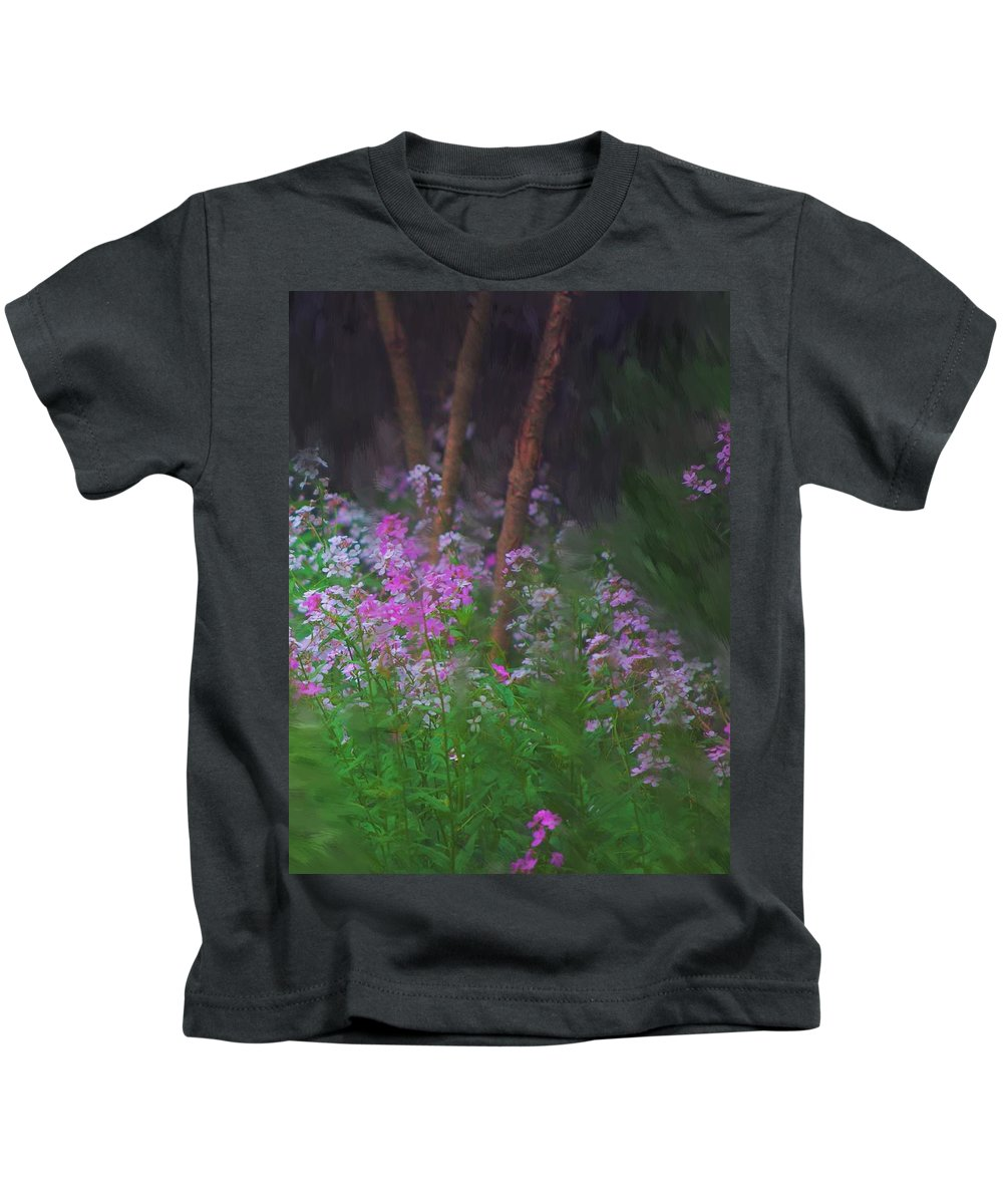 Landscape Kids T-Shirt featuring the painting Flowers In The Woods by David Lane