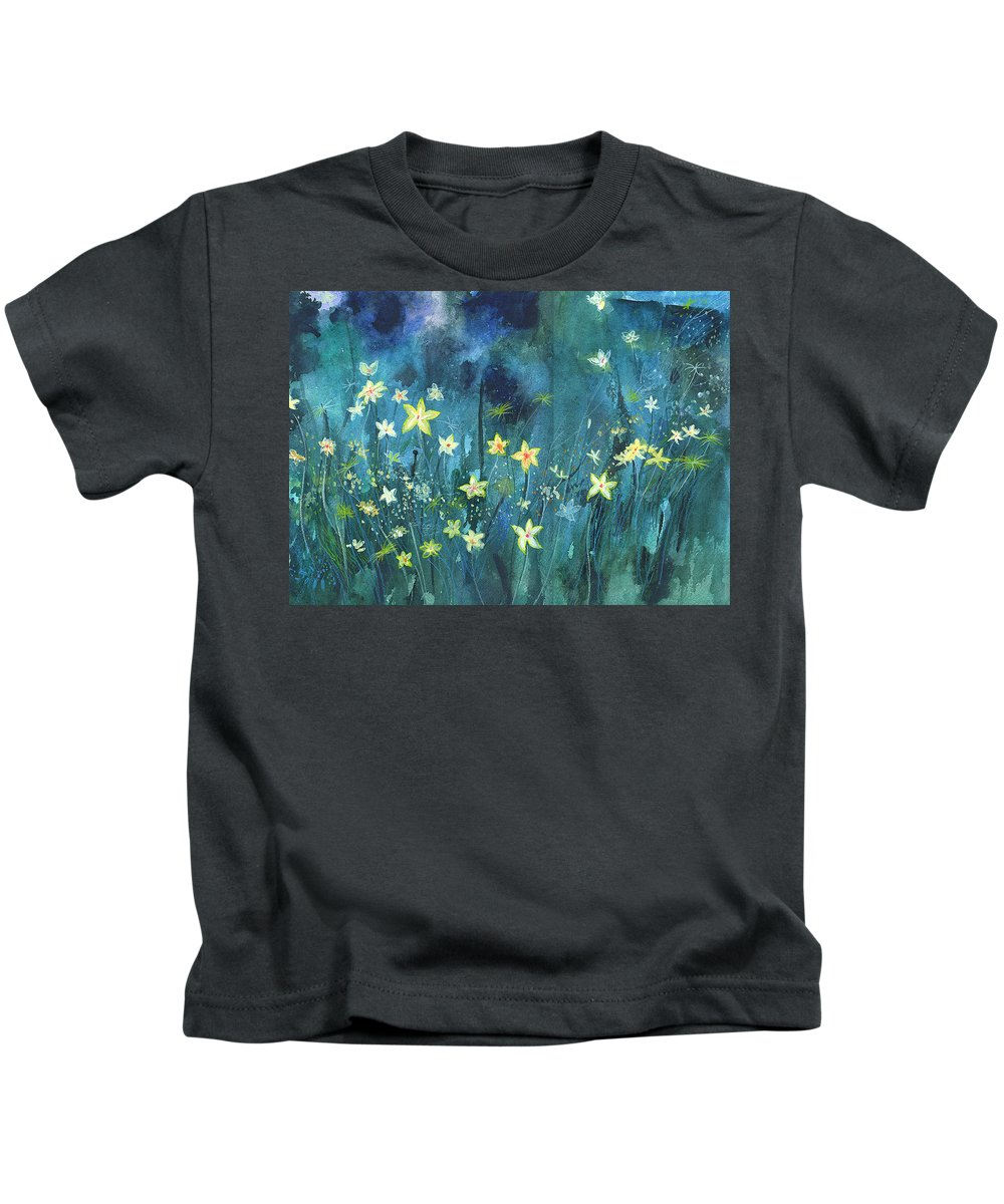 Landscape Kids T-Shirt featuring the painting Flowers N Breeze by Anil Nene