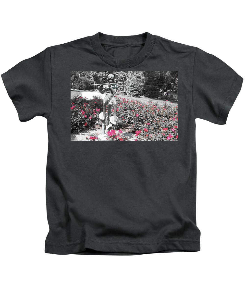 Flute Player Kids T-Shirt featuring the photograph Flute Player - Two Toned by Dawn Braun