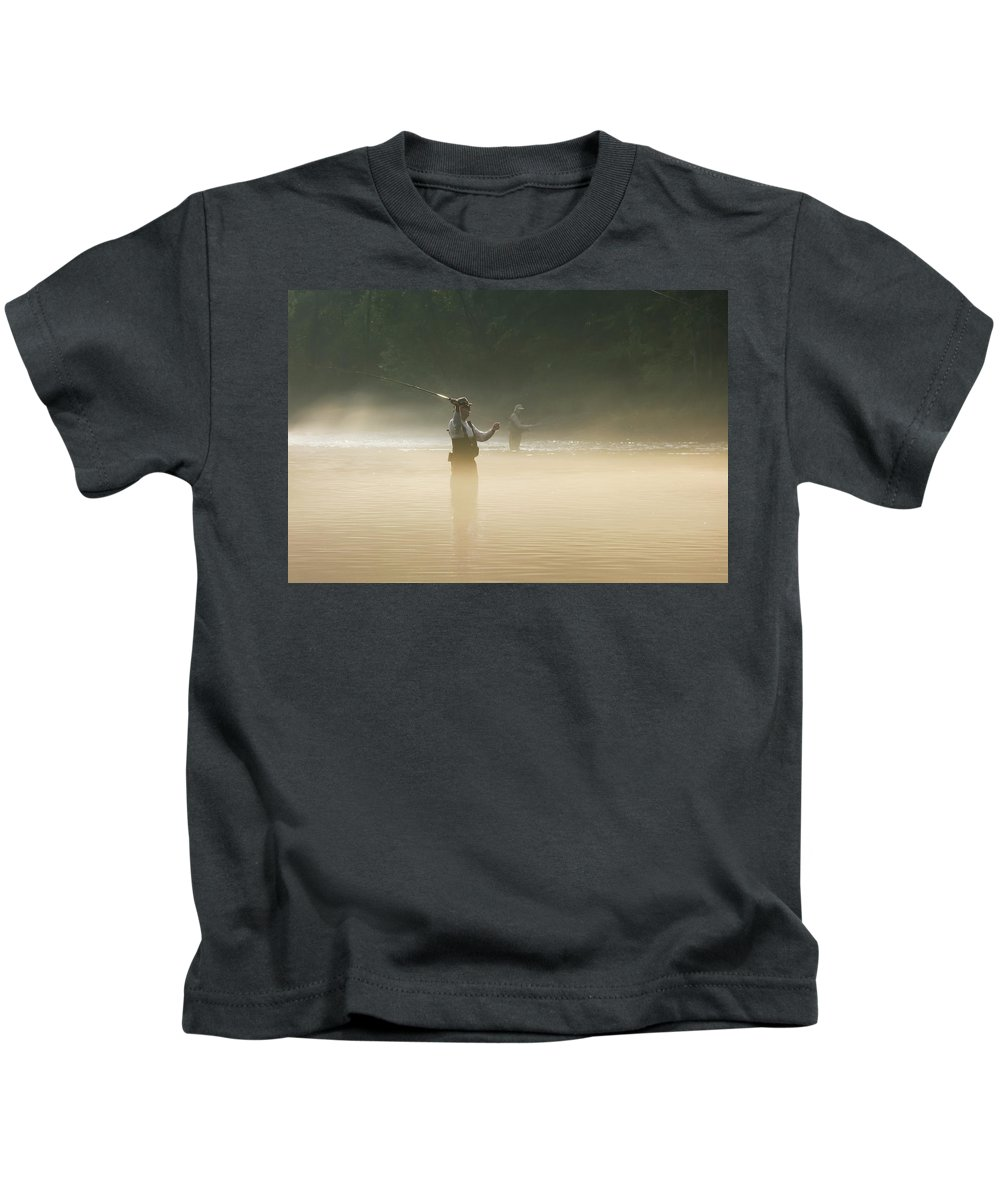 Man Kids T-Shirt featuring the photograph Fly Fishing by Betty LaRue