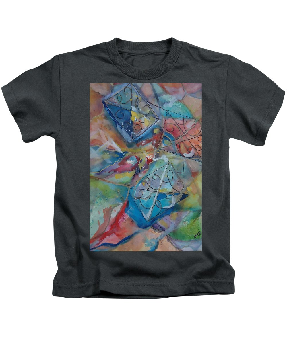 Colors And Shapes Move The C's Around. Abstract Kids T-Shirt featuring the mixed media Flying Cs by Charme Curtin