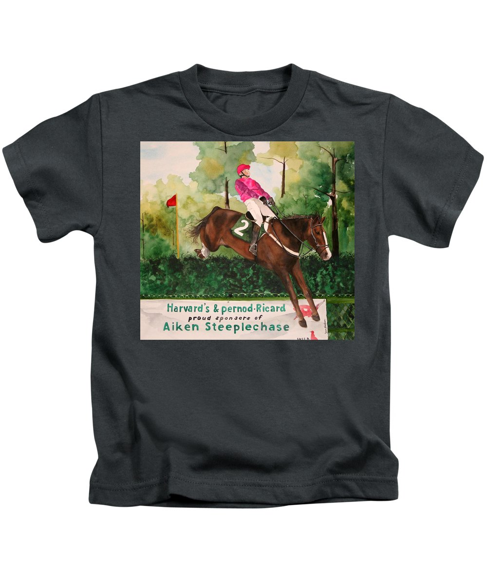 Horse Kids T-Shirt featuring the painting Flying High by Jean Blackmer