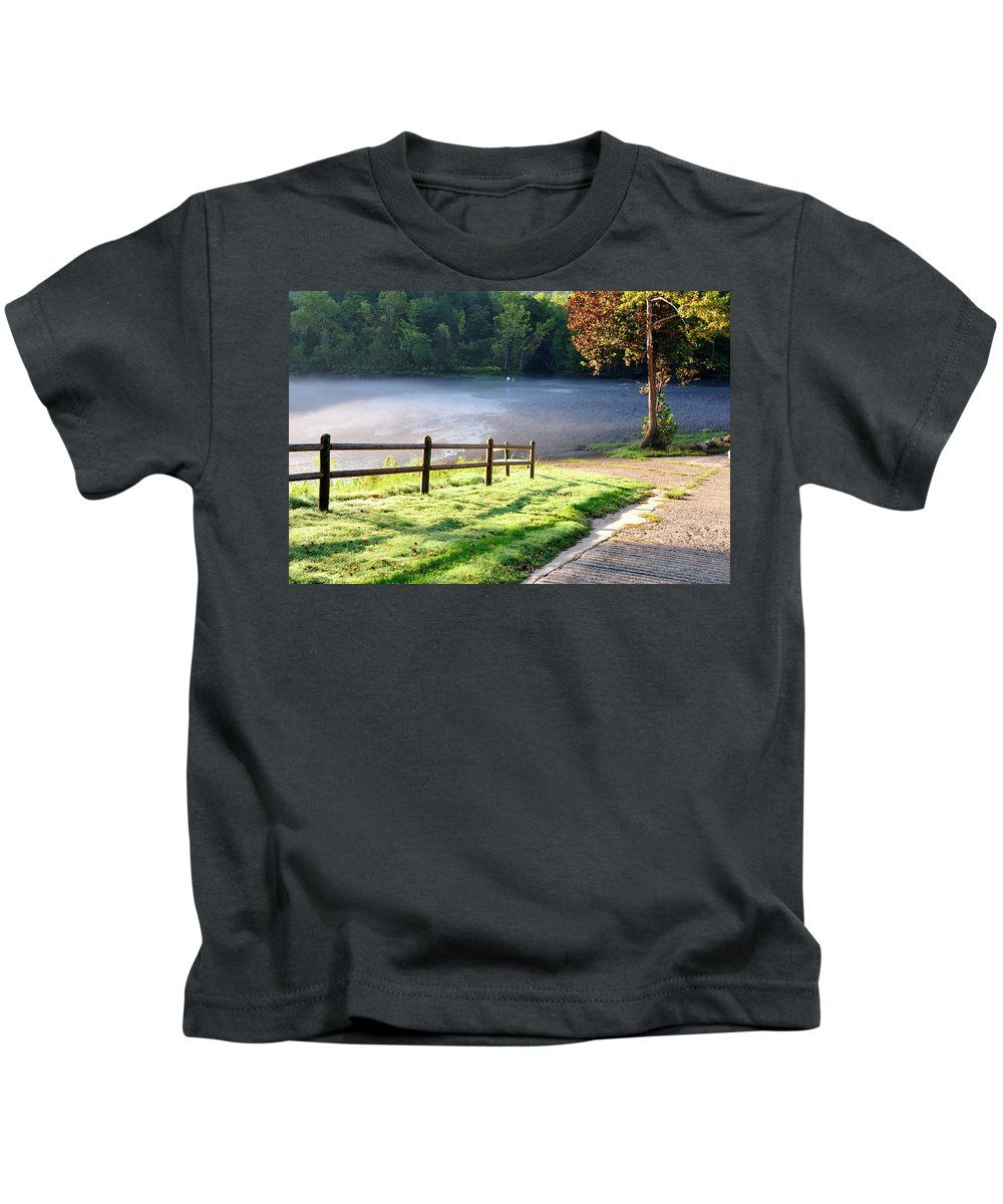 Norfork Tailwaters Kids T-Shirt featuring the photograph Fog On The River by Betty LaRue