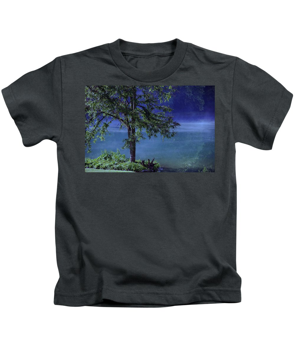 Landscape Kids T-Shirt featuring the photograph Fog Over The Pond by Susanne Van Hulst