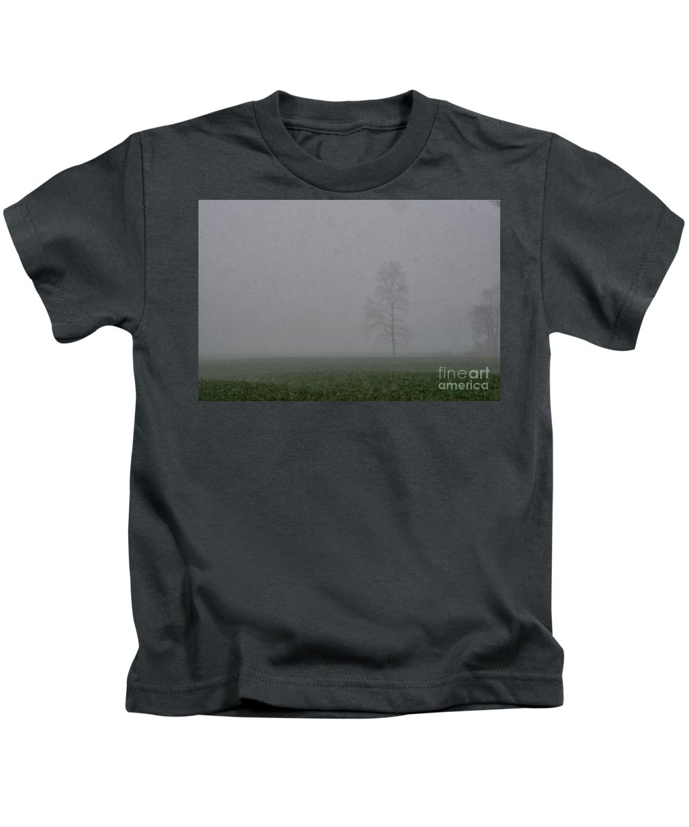 Tree Kids T-Shirt featuring the photograph Fog Snow Tree by David Arment