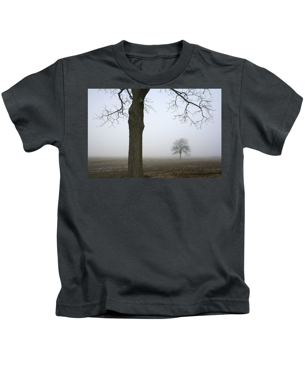 Fog Kids T-Shirt featuring the photograph Foggy Field by Kathy Stanczak