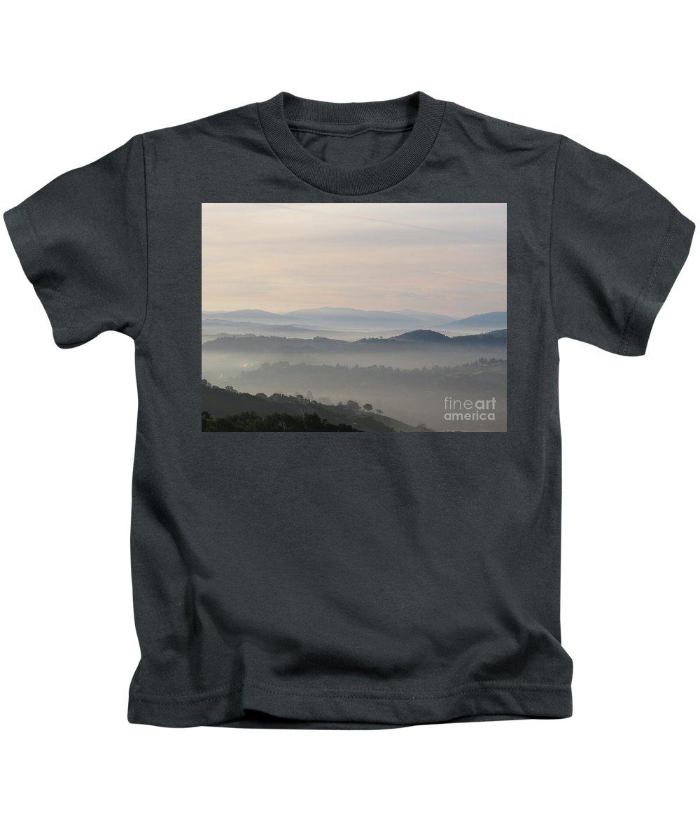 Landscape Kids T-Shirt featuring the photograph Foggy Haze by Suzanne Leonard