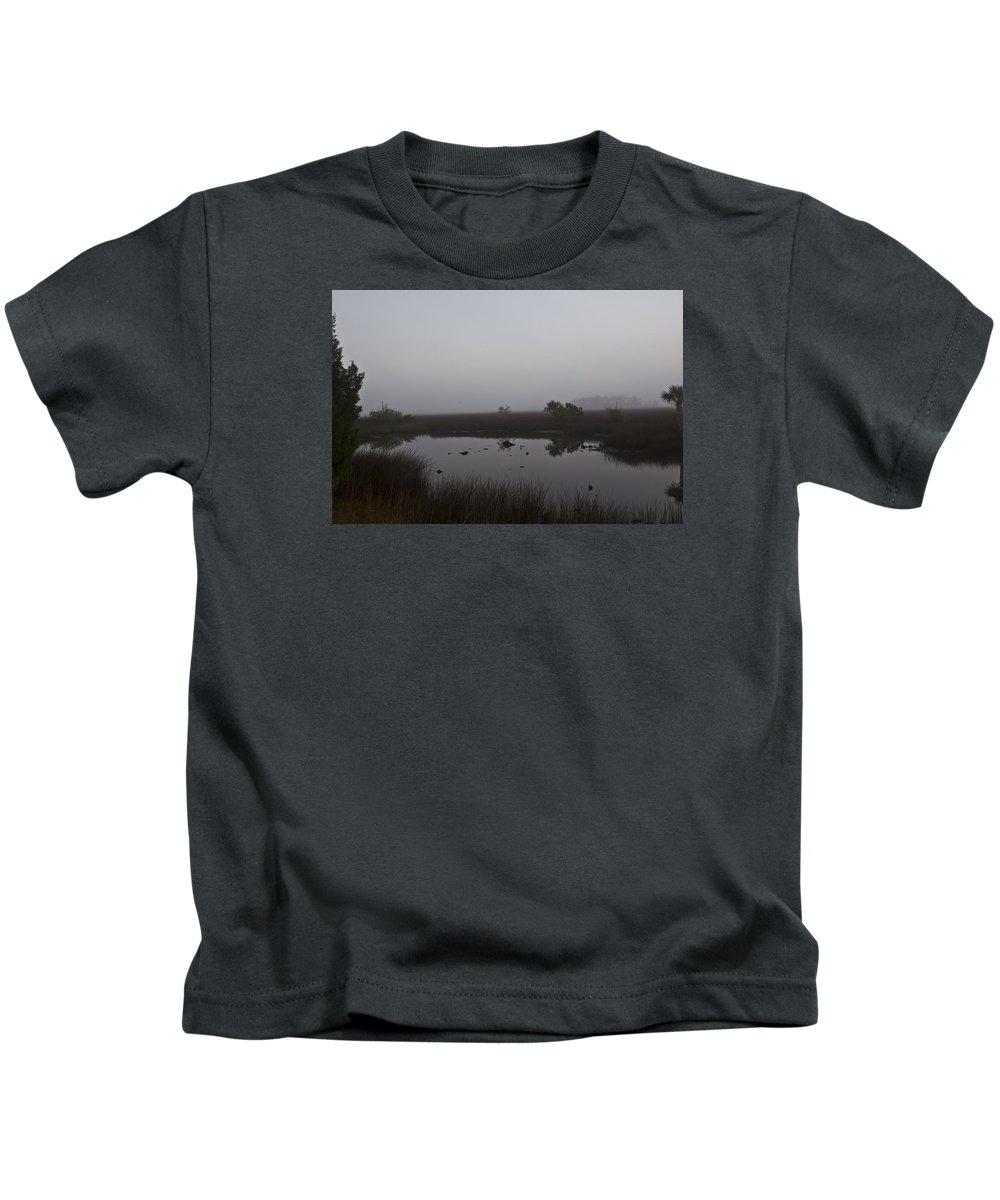 Marsh Kids T-Shirt featuring the photograph Foggy Marsh by Regina Williams
