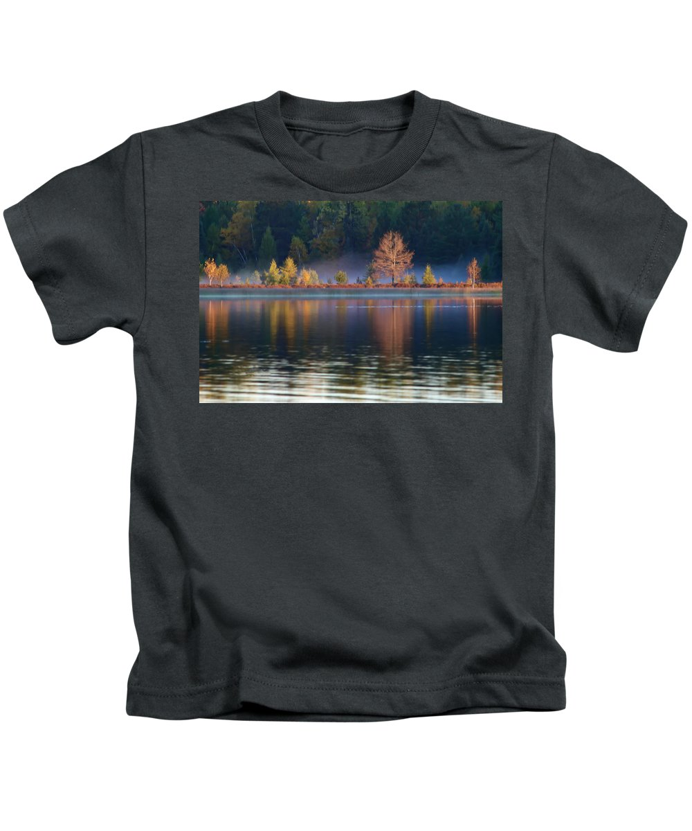 Landscape Kids T-Shirt featuring the photograph Foggy Morning by Mary Stilwell