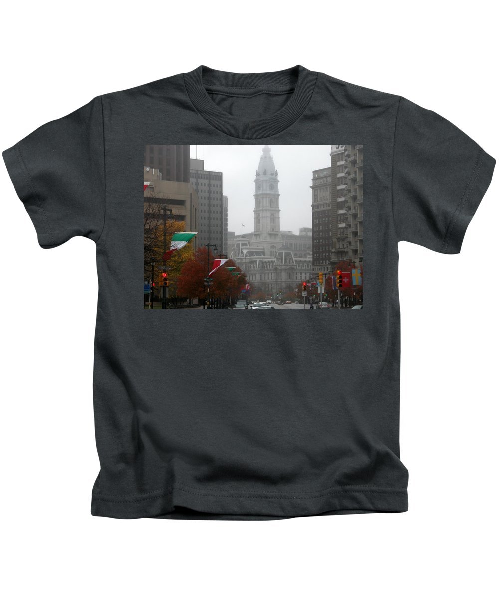 Photograph Kids T-Shirt featuring the photograph Foggy Philadelphia by Jan Gilmore