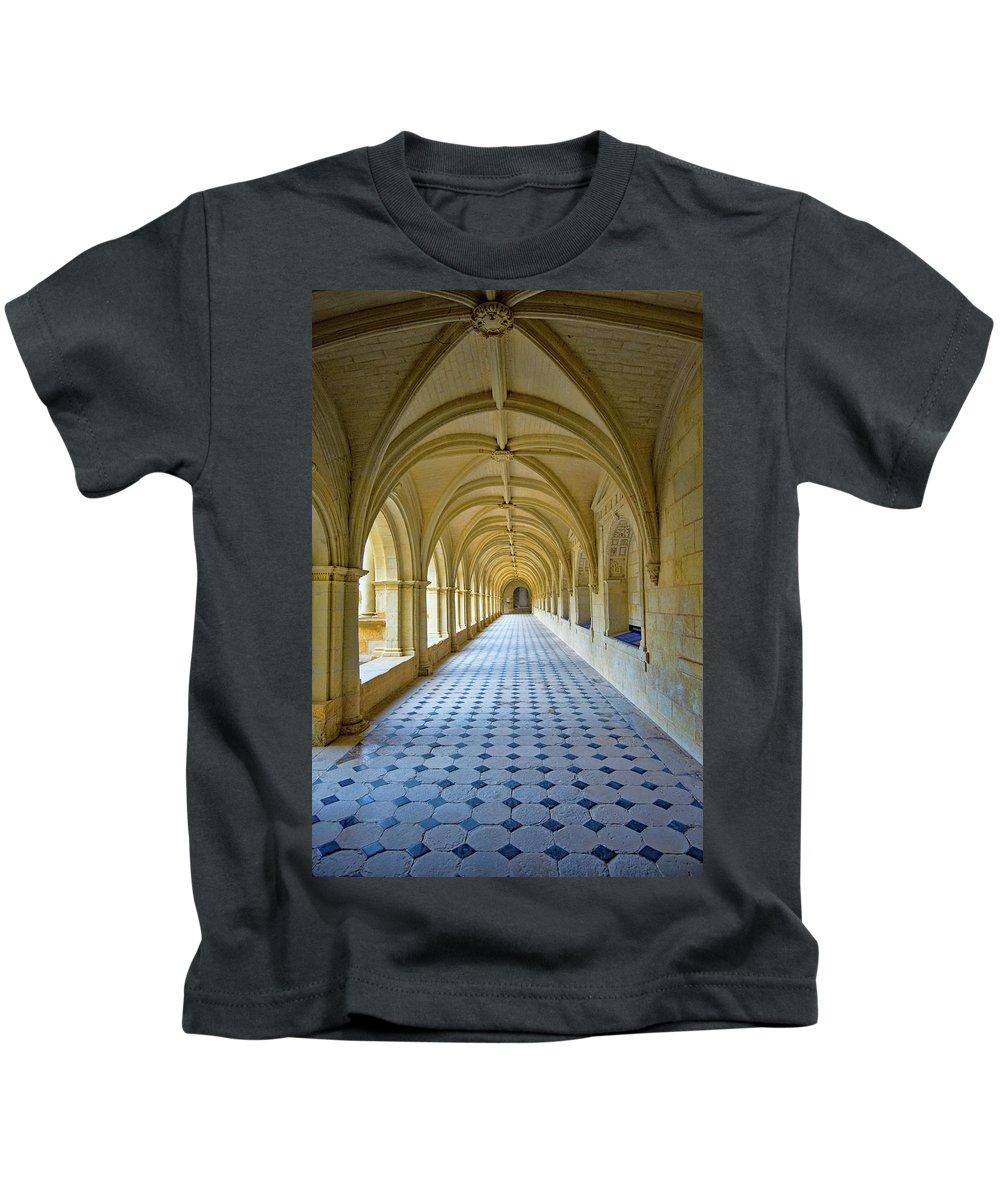 Fontevraud Abbey Cloister Kids T-Shirt featuring the photograph Fontevraud Abbey Cloister, Loire, France by Curt Rush