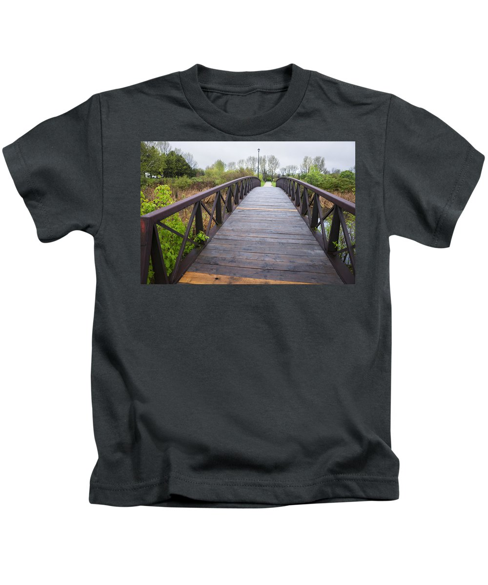 Bridge Kids T-Shirt featuring the photograph Foot Bridge In Park by Donald Erickson