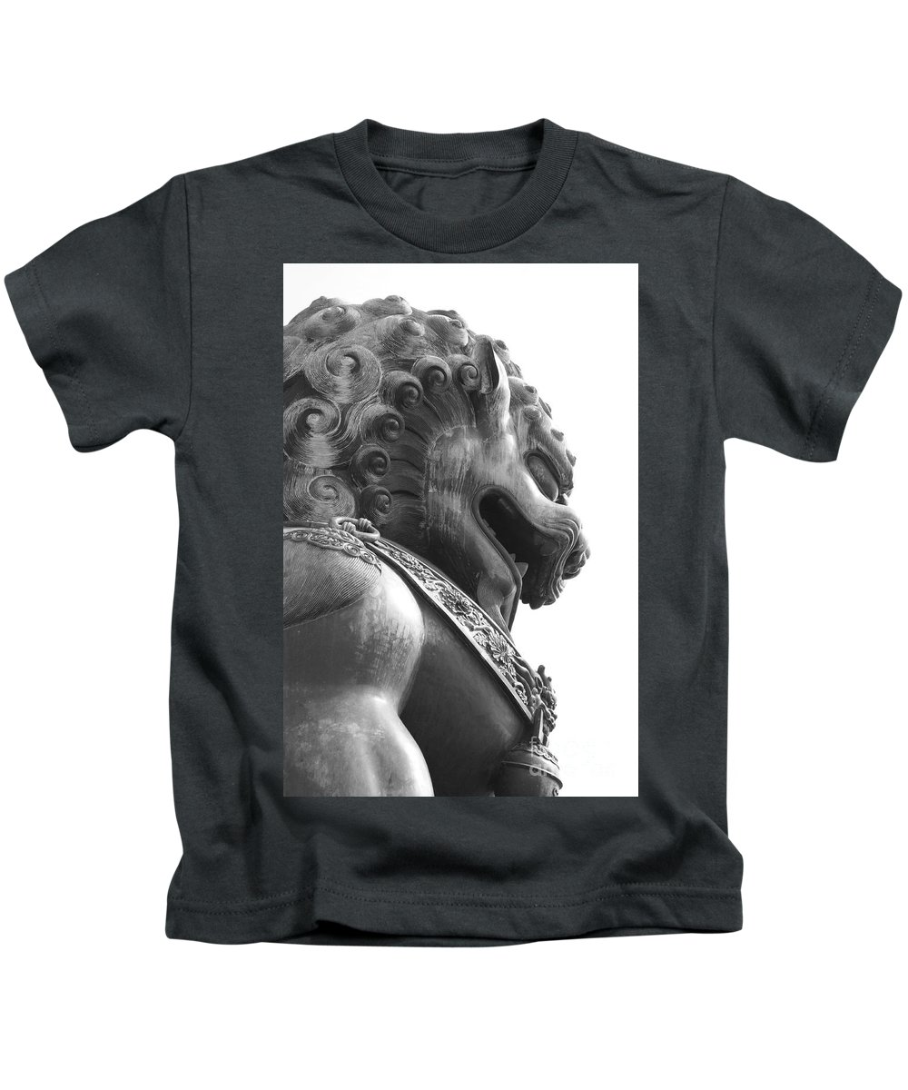China Kids T-Shirt featuring the photograph Forbidden City Lion - Black And White by Carol Groenen