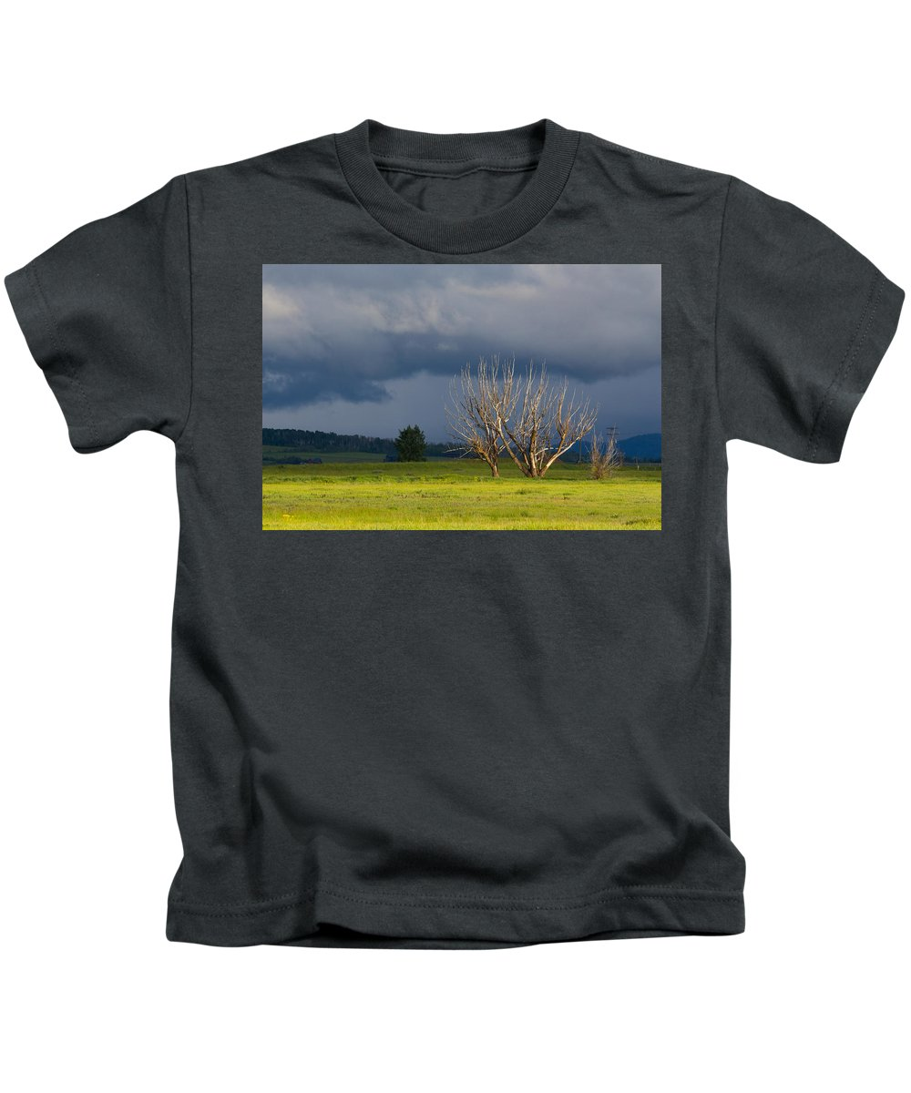 Lanscape Kids T-Shirt featuring the photograph Forbidding Skies by William Fredette-huffman