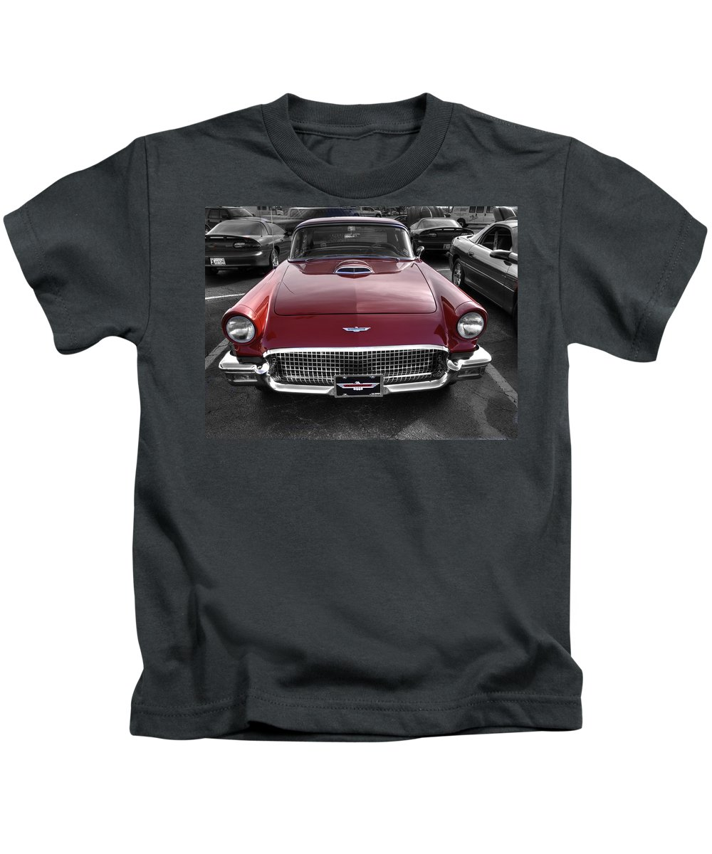 Ford Thunderbird Convertible Kids T-Shirt featuring the photograph Ford Thunderbird Red V1 by John Straton