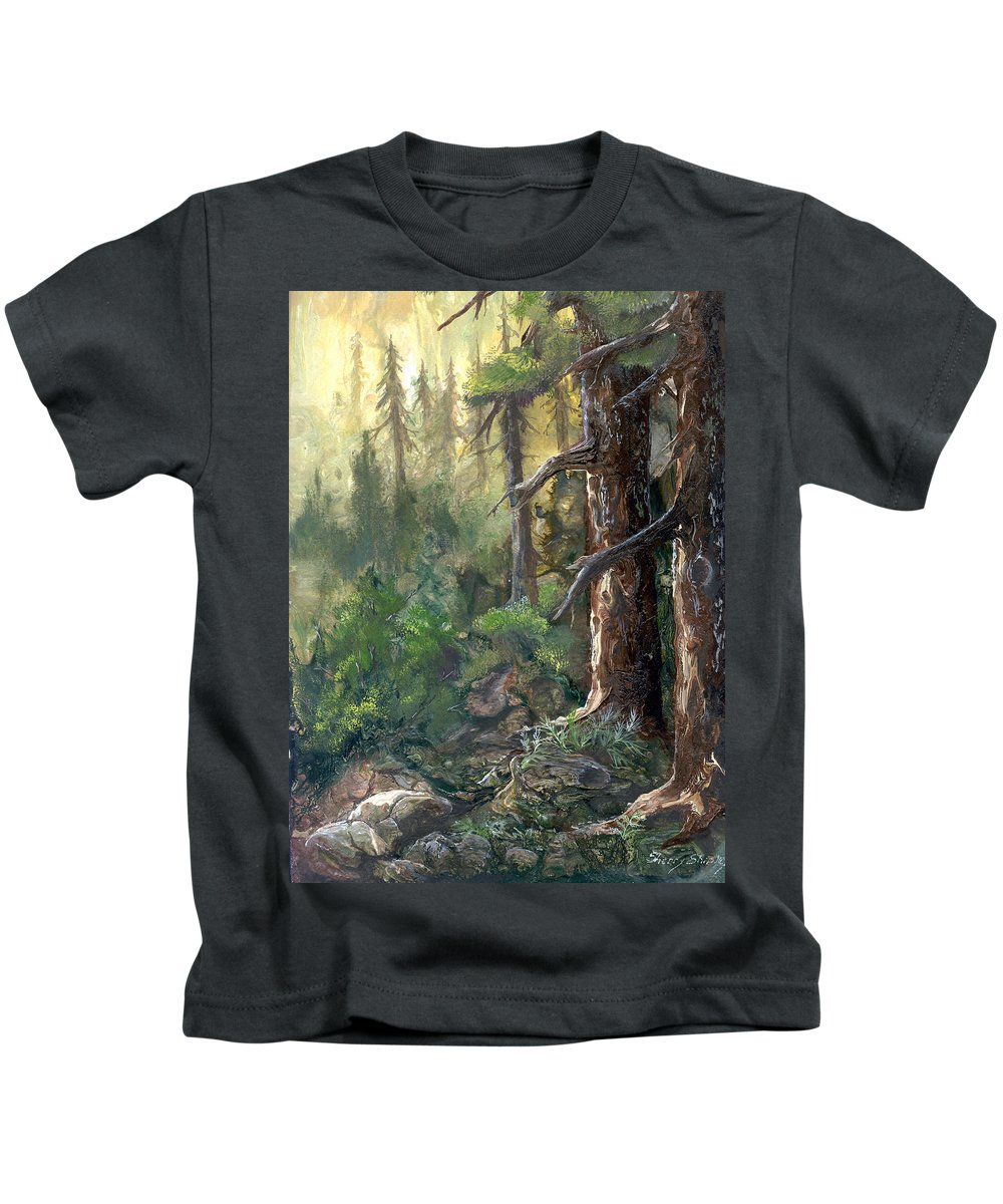 Trees Kids T-Shirt featuring the painting Forest Deep by Sherry Shipley