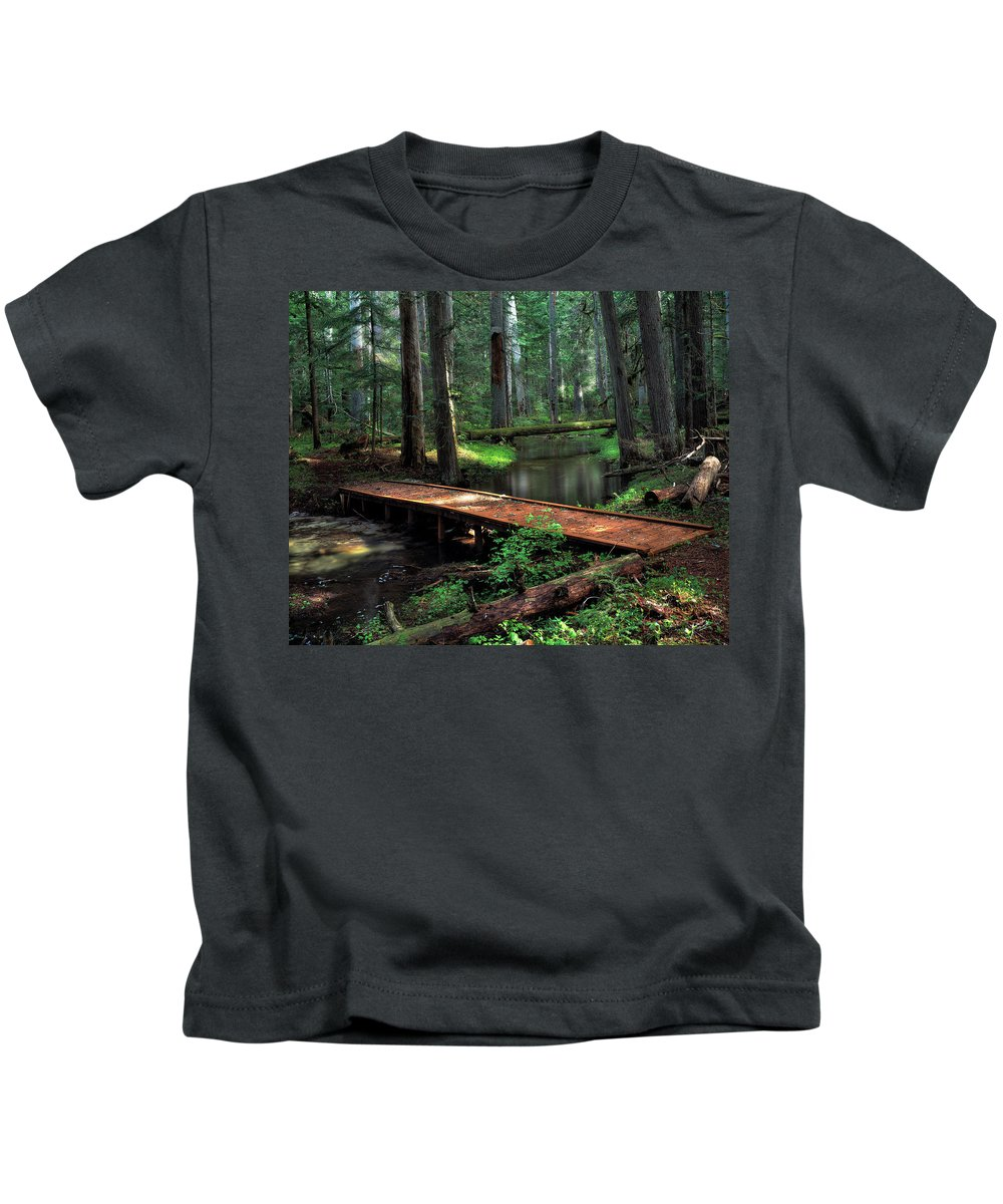 Lions Head State Park Kids T-Shirt featuring the photograph Forest Foot Bridge by Leland D Howard