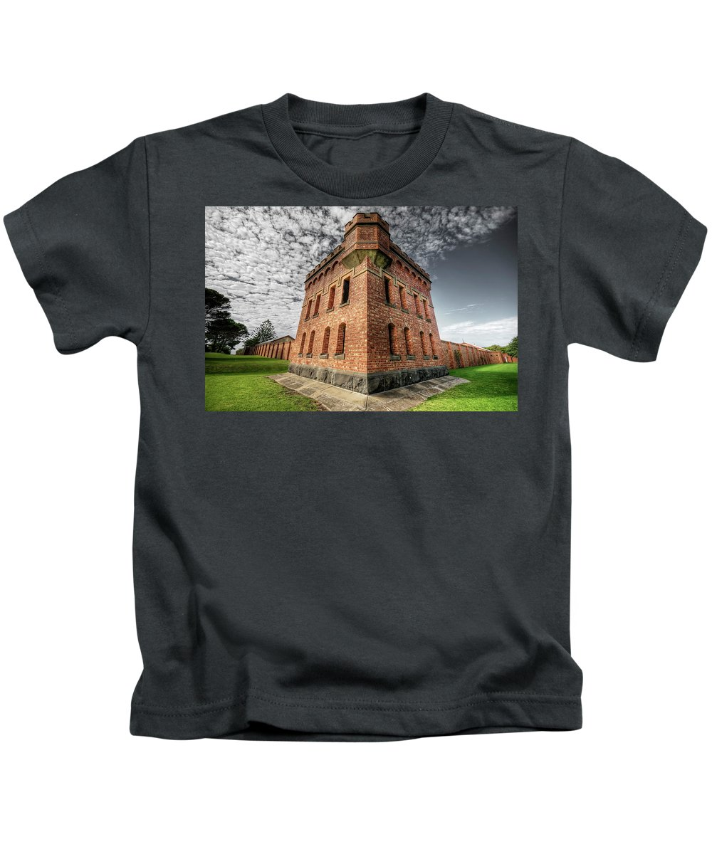Fort Kids T-Shirt featuring the photograph Fort Queenscliff by Wayne Sherriff