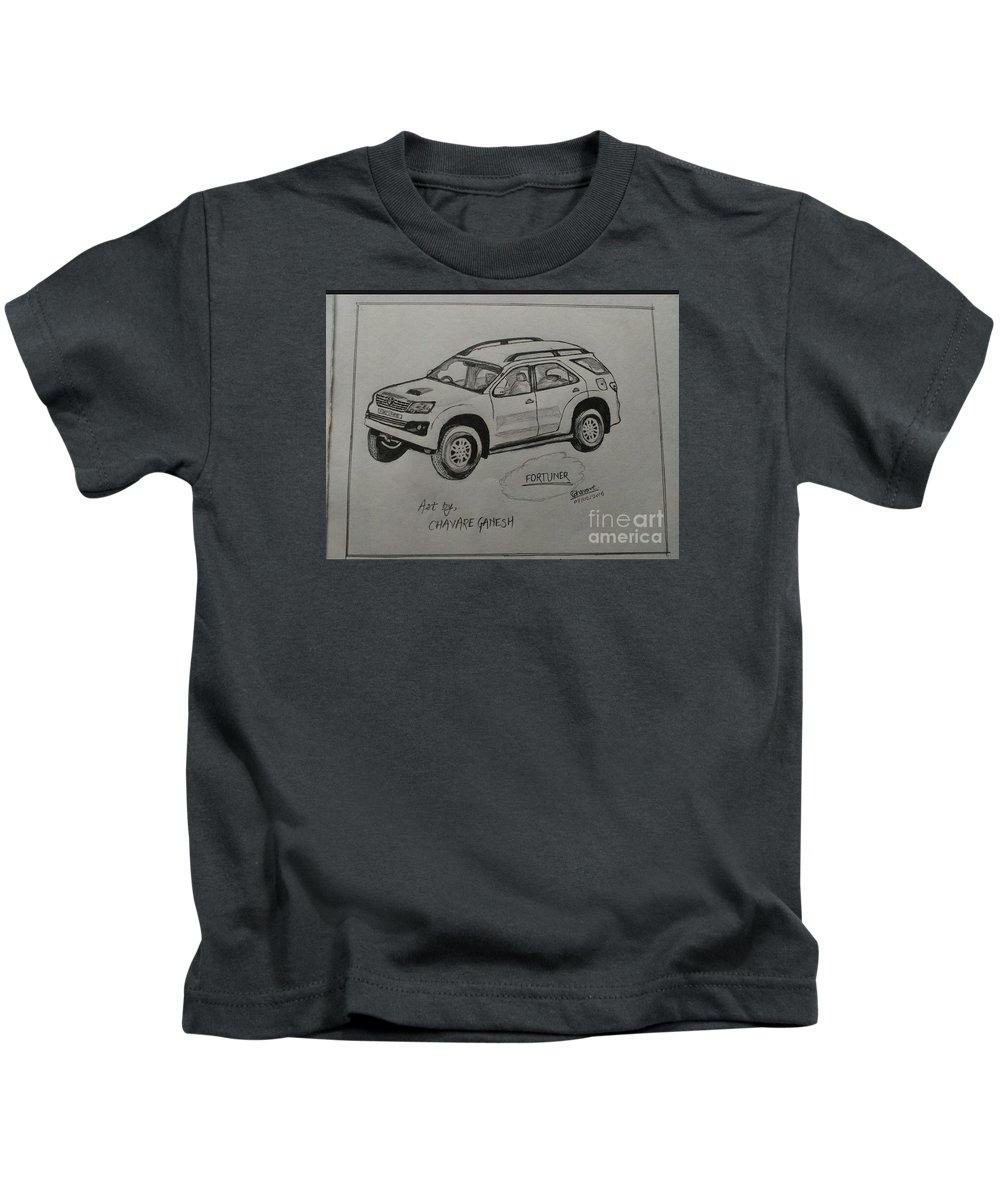 Landscape Kids T-Shirt featuring the drawing Fortuner by Ganesh Chavare