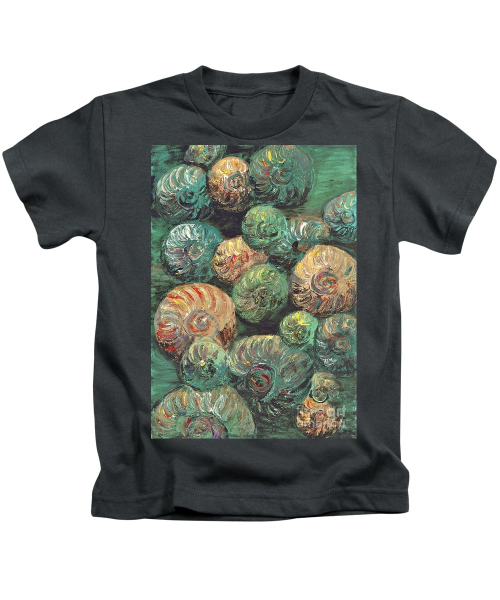 Shells Kids T-Shirt featuring the mixed media Fossil Shells by Nadine Rippelmeyer