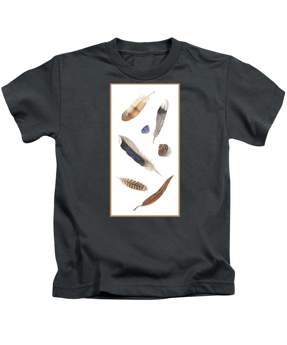 Feathers Kids T-Shirt featuring the painting Found Treasures by Lucy Arnold
