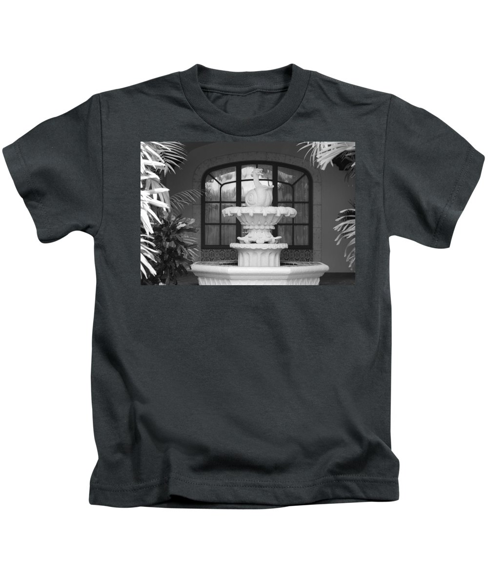 Architecture Kids T-Shirt featuring the photograph Fountian And Window by Rob Hans