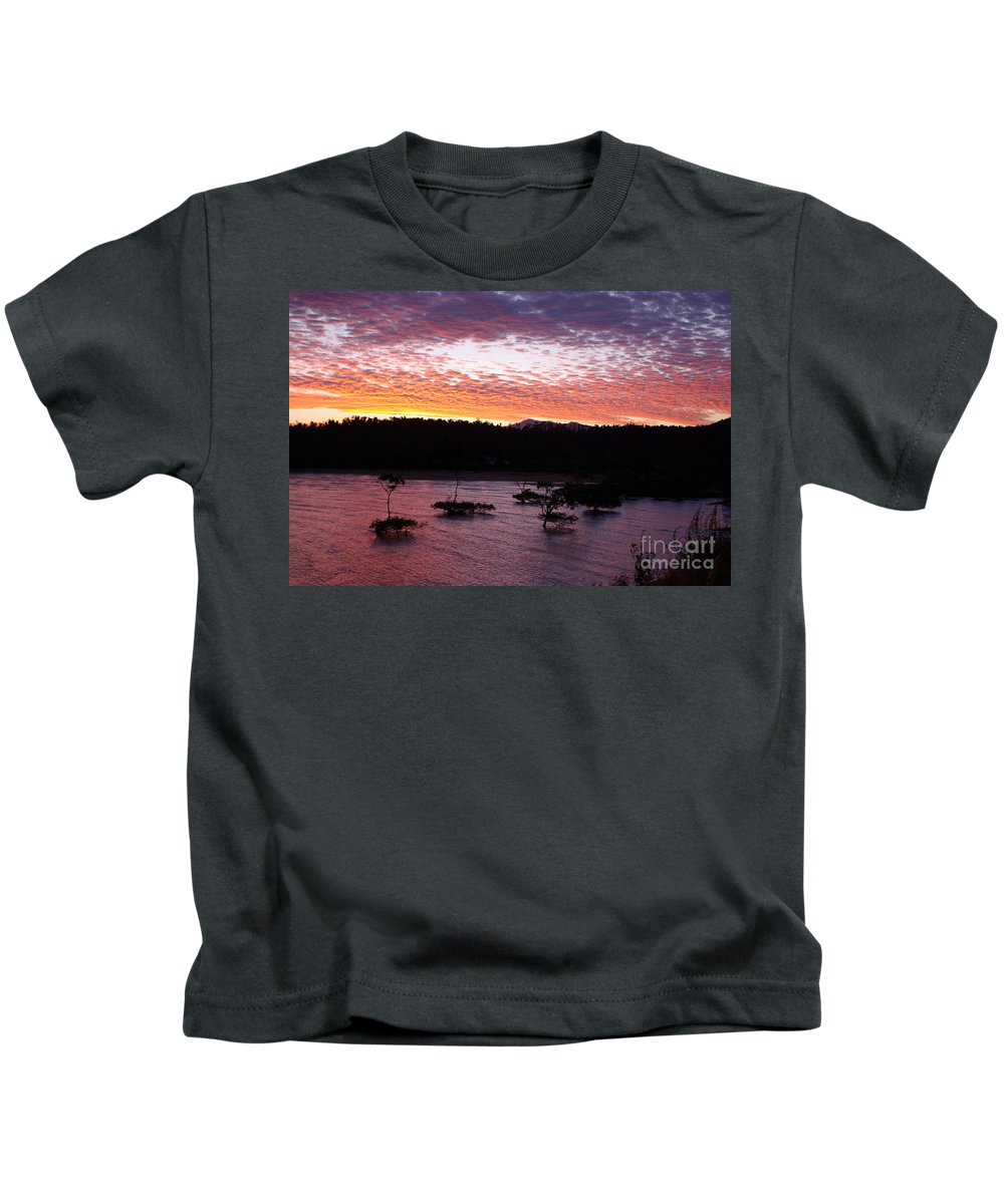Landscape Kids T-Shirt featuring the photograph Four Elements Sunset Sequence 3 Coconuts Qld by Kerryn Madsen - Pietsch