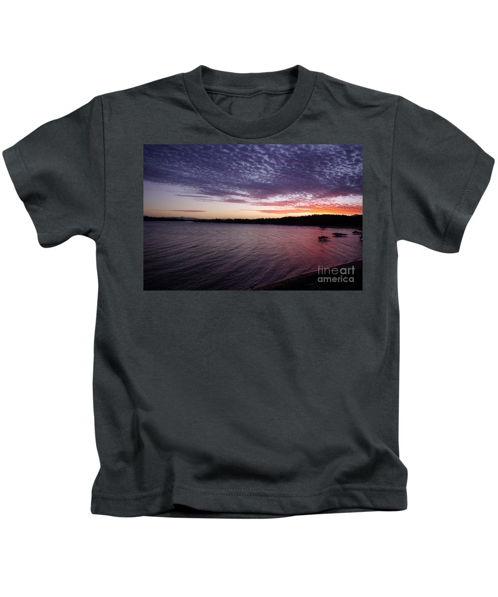 Landscape Kids T-Shirt featuring the photograph Four Elements Sunset Sequence 4 Coconuts Qld by Kerryn Madsen- Pietsch