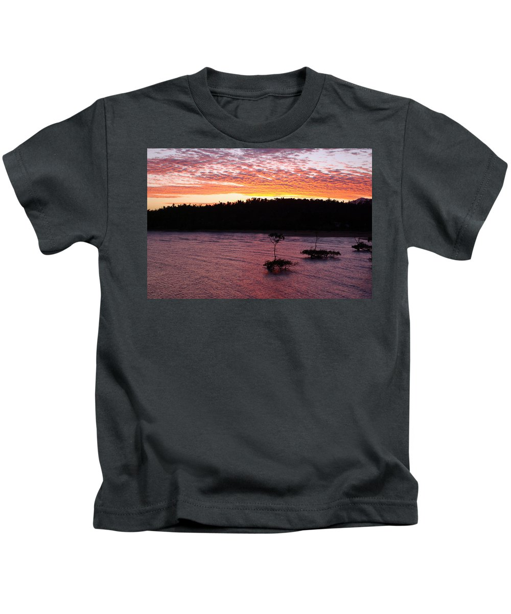 Landscape Kids T-Shirt featuring the photograph Four Elements Sunset Sequence 5 Coconuts Qld by Kerryn Madsen - Pietsch