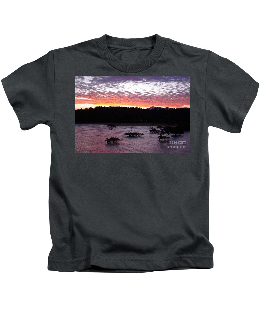 Landscape Kids T-Shirt featuring the photograph Four Elements Sunset Sequence 8 Coconuts Qld by Kerryn Madsen - Pietsch