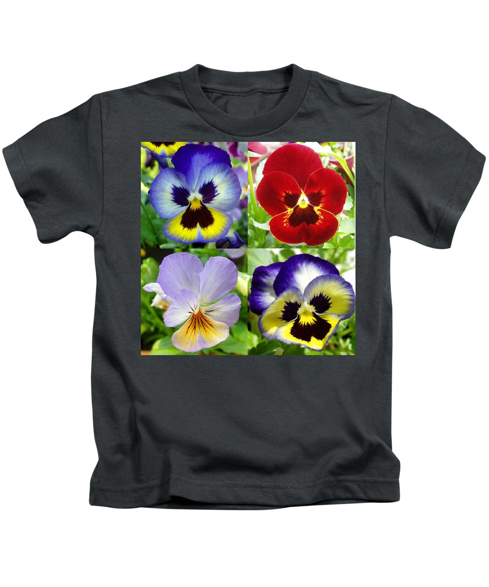 Pansy Kids T-Shirt featuring the photograph Four Pansies by Nancy Mueller