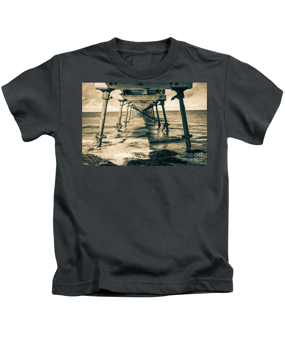 Nullarbor Kids T-Shirt featuring the photograph Fowlers Bay Jetty by Russell Alexander