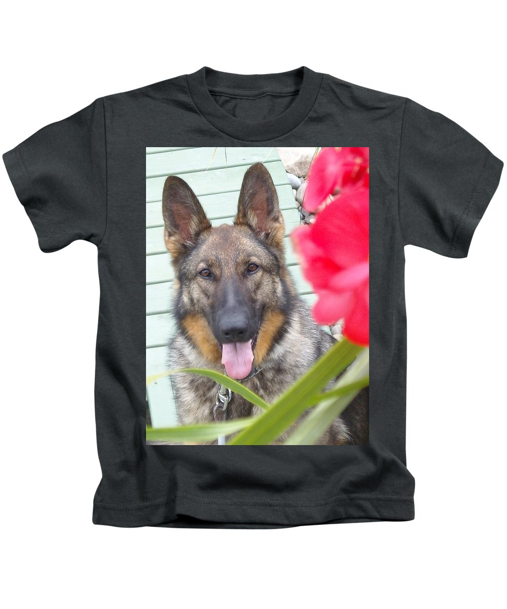 Dog Kids T-Shirt featuring the photograph Foxy by Line Gagne
