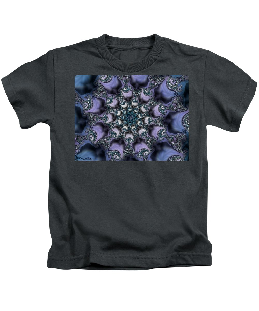 Fractal Rose Blossom Nature Life Organic Kids T-Shirt featuring the digital art Fractal 1 by Veronica Jackson