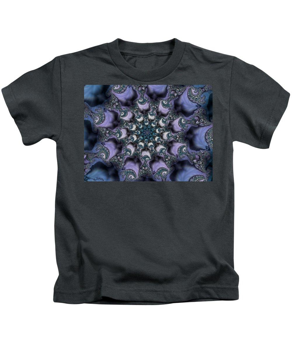 Fractal Rose Blossom Nature Life Organic Kids T-Shirt featuring the digital art Fractal 1 by Veronica Jackson