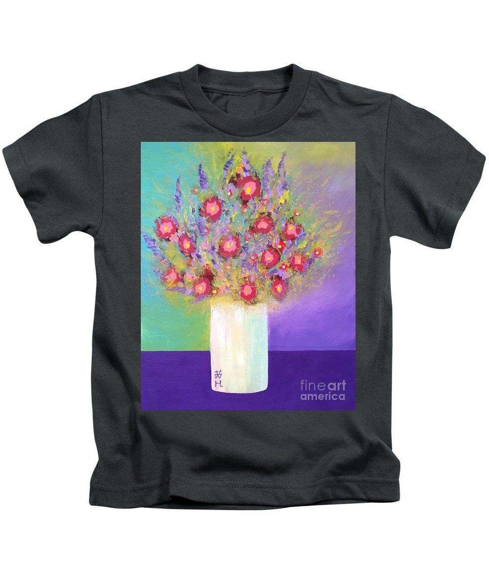 Still Life Kids T-Shirt featuring the painting Fragrance Arrangement by Wonju Hulse