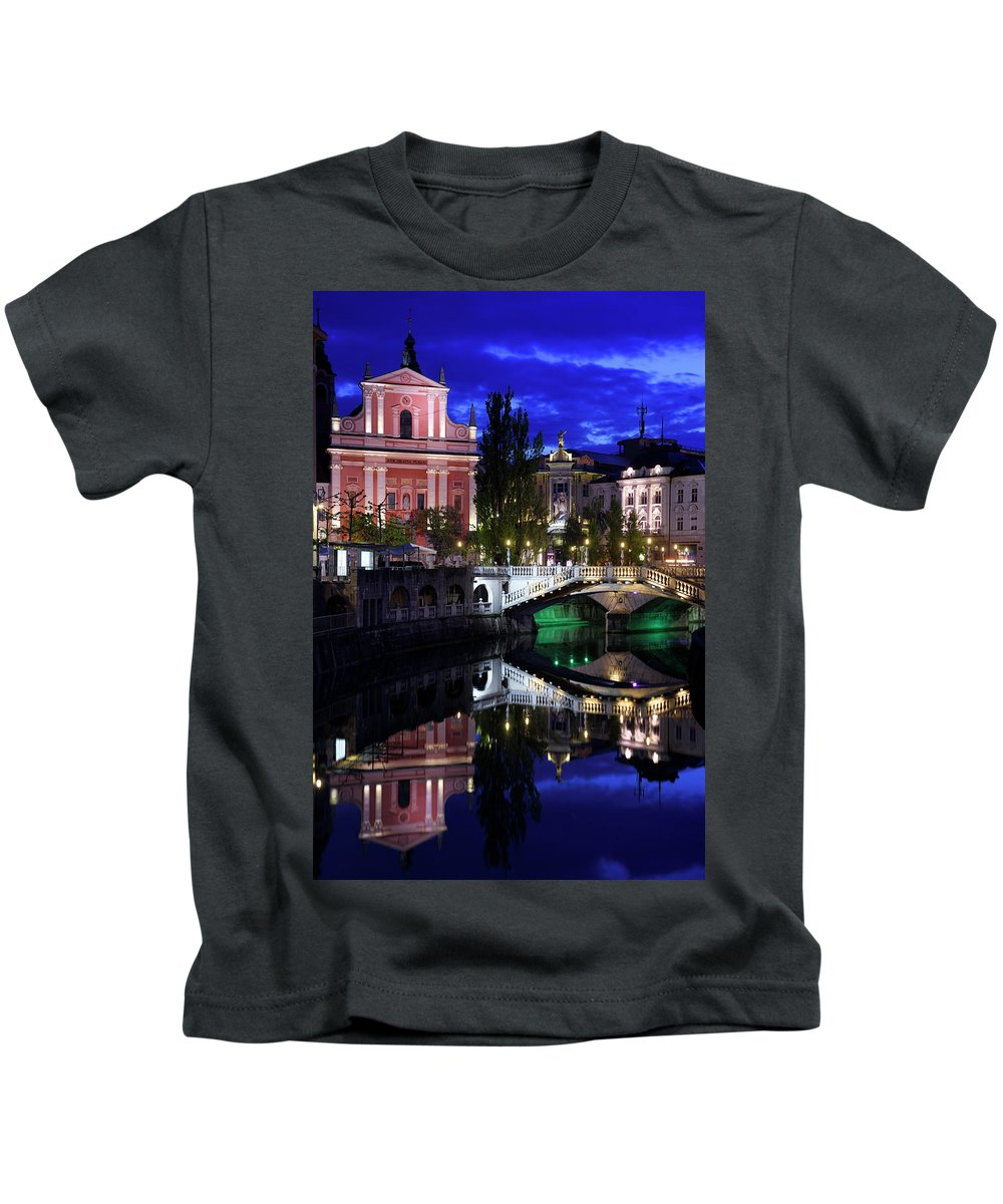 Reflections Kids T-Shirt featuring the photograph Franciscan Church Of The Annunciation, Gallerija Emporium, Centr by Reimar Gaertner