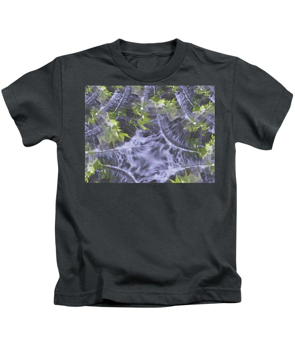 Seattle Kids T-Shirt featuring the digital art Freeway Park Waterfall 2 by Tim Allen