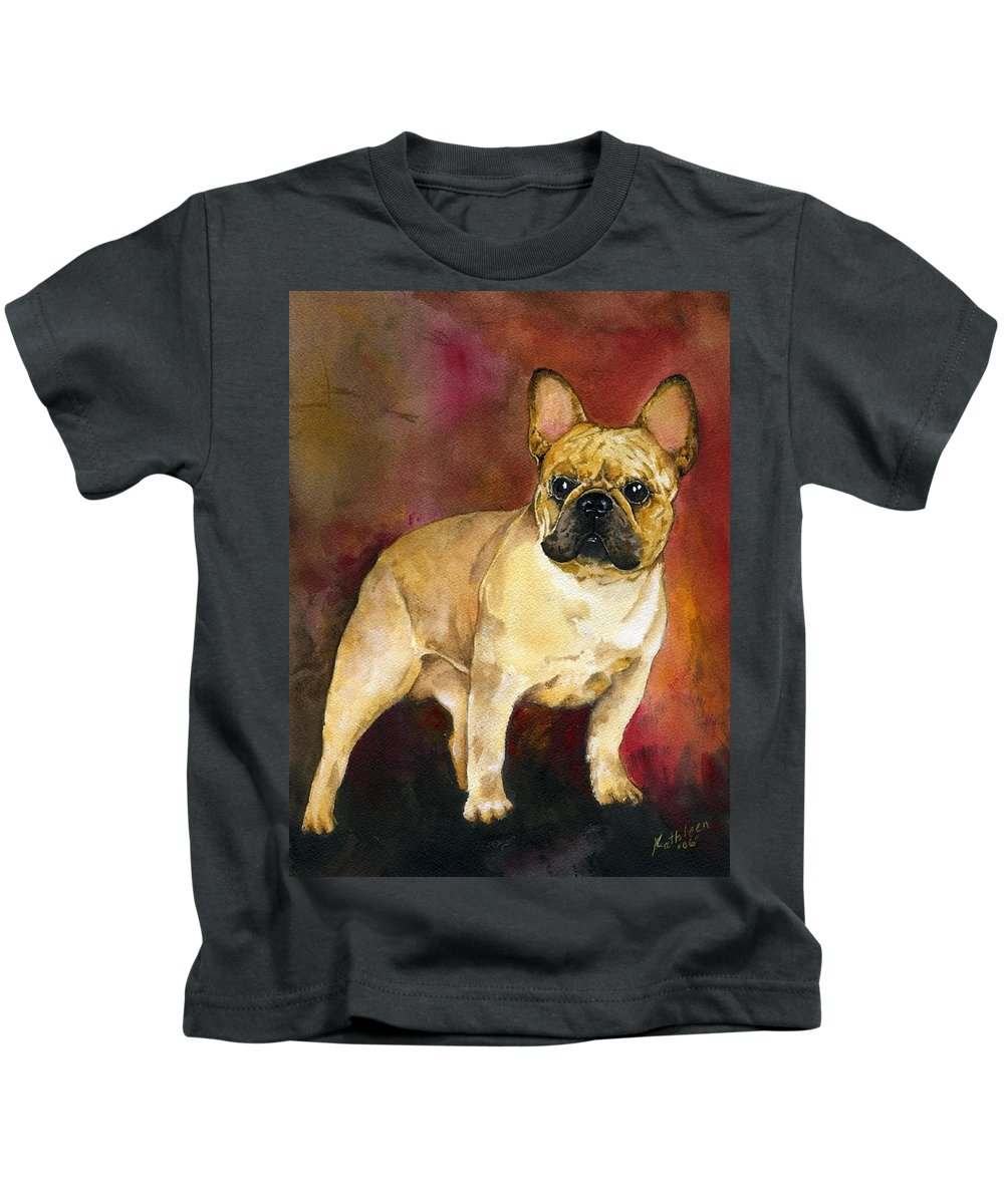 French Bulldog Kids T-Shirt featuring the painting French Bulldog by Kathleen Sepulveda