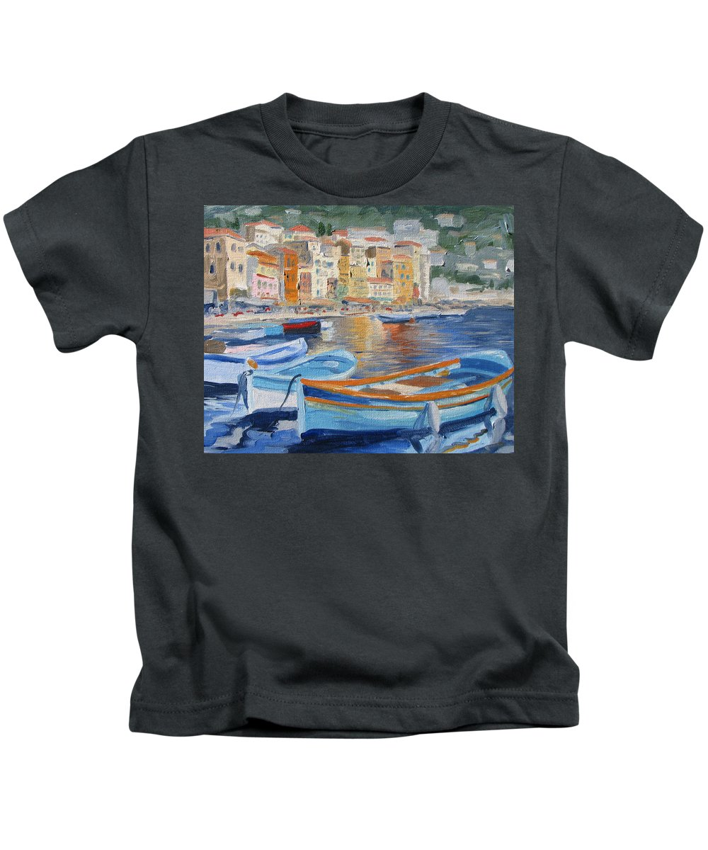Seascape Kids T-Shirt featuring the painting French Harbor by Jay Johnson