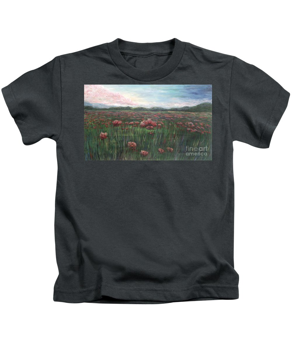 France Kids T-Shirt featuring the painting French Poppies by Nadine Rippelmeyer